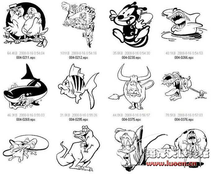 黑白卡通动物矢量素材集合下载