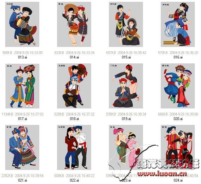 中国56个民族人物矢量系列素材全套下载