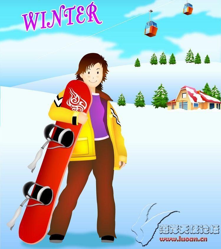 冬季户外运动矢量素材打包下载
