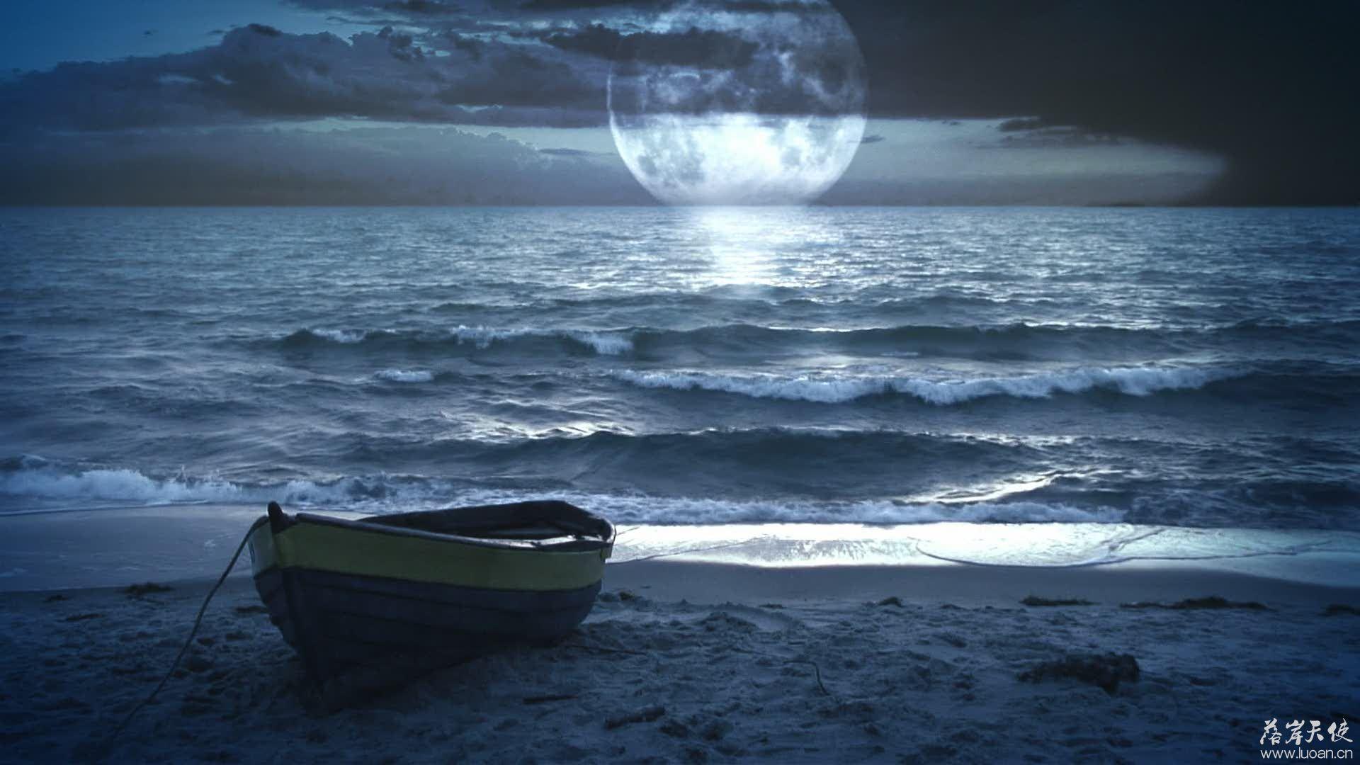 比较浪漫的 视频制作素材-海滩,月光和小船